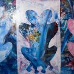 Le coeur à deux têtes 30 X 48 Acrylique et collage