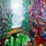 Le pont sur l'étang 24 X 18 Acrylique et collage