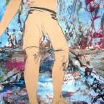 Les pieds dans l'eau 24 X 18 Acrylique et collage